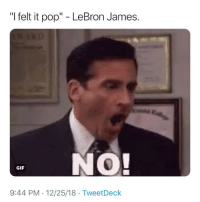 "NOOOOOO 😭😂: ""I felt it pop"" - LeBron James.  . NO!  GIF  9:44 PM 12/25/18 TweetDeck NOOOOOO 😭😂"