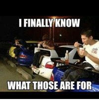 Bailey Jay, Funny, and Lmao: I FINALLY KNOW  WHAT THOSE ARE FOR Lmao !! This should be the opening scene in fastandfurious 200 lol Tag anyone who has a wing and doesn't know you now eat burgers with ease on your Supra and Mazda Miata @ifunnymeme ifunnymeme funny