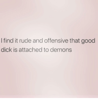 Rude, Dick, and Good: I find it rude and offensive that good  dick is attached to demons We live in a terrible world 😩