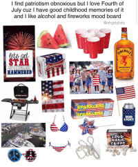 fourth of july: I find patriotism obnoxious but I love Fourth of  July cuz I have good childhood memories of it  and I like alcohol and fireworks mood board  @angstyfairy  STAR  12  CINNAMON WHISKY  HANNERED  BUD  LIGHT  LOUD  BANG  SWAPS