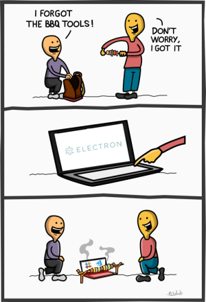 Meme, Java, and Got: I FORGOT  THE BBQ TOOLS!  DON'T  WORRY,  GOT IT  ELECTRON Fixed the Java meme