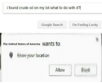 "America, Dank, and Google: i found crude oil on my lot what to do with it?  Google Search  I'm Feeling Lucky  The United States of America Wants to  Knaw your location <p>It's Freedom time via /r/dank_meme <a href=""http://ift.tt/2mOLrRm"">http://ift.tt/2mOLrRm</a></p>"