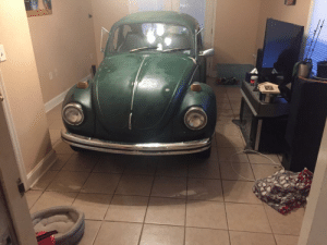 I found out that our Volkswagen fits in the den. Will see what the wife thinks when she gets home.: I found out that our Volkswagen fits in the den. Will see what the wife thinks when she gets home.