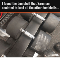 😂💪🏼 . @DOYOUEVEN 💥 Use NEW20 to save yourself 20% OFF storewide 🌏 link in BIO: I found the dumbbell that Saruman  anointed to lead all the other dumbbells... 😂💪🏼 . @DOYOUEVEN 💥 Use NEW20 to save yourself 20% OFF storewide 🌏 link in BIO