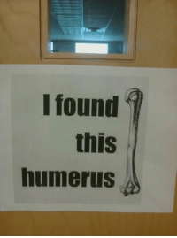 Science puns are best puns. https://t.co/yKqkJmiBnQ: I found  this  humerus Science puns are best puns. https://t.co/yKqkJmiBnQ