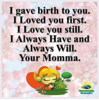 Love, Memes, and I Love You: I gave birth to you.  I Loved you first.  I Love you still.  I Always Have and  Alwavs Will.  Your Momma.  Understanding <3