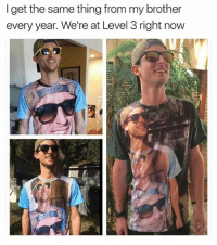 Memes, 🤖, and Level 3: I get the same thing from my brother  every year. We're at Level 3 right now