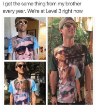 level 3: I get the same thing from my brother  every year. We're at Level 3 right now