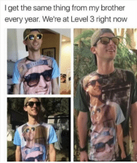 Memes, 🤖, and Level 3: I get the same thing from my brother  every year. We're at Level 3 right now 😂😂lmao - - - - - - - - 420 memesdaily Relatable dank MarchMadness HoodJokes Hilarious Comedy HoodHumor ZeroChill Jokes Funny KanyeWest KimKardashian litasf KylieJenner JustinBieber Squad Crazy Omg Accurate Kardashians Epic bieber Weed TagSomeone hiphop trump rap drake