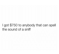 Funny, Good, and Luck: I got $750 to anybody that can spell  the sound of a sniff Good luck.