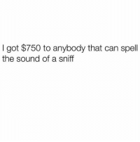 Memes, 🤖, and Got: I got $750 to anybody that can spell  the sound of a sniff Um