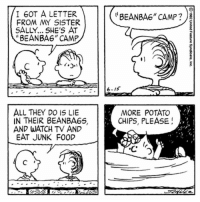 "That sounds like the best camp EVER📺 snoopy snoopycomics cartoon comics linus charliebrown sally: I GOT A LETTER  FROM MY SISTER  SALLY... SHE'S AT  ""BEANBA6"" CAMP  ""BEAN BAG"" CAMP ?  6-15  ALL THEY DO IS LIE  IN THEIR BEANBAGS,  AND WATCH TV AND  EAT JUNK FOOD  MORE POTATO  CHIPS, PLEASE!  5  2  4  4 That sounds like the best camp EVER📺 snoopy snoopycomics cartoon comics linus charliebrown sally"