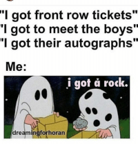 "Memes, Front Row, and Boys: ""I got front row tickets'  got to meet the boys""  T got their autographs  Me  i got a rock.  dreaming forhoran I shouldn't have laughed at this point..."