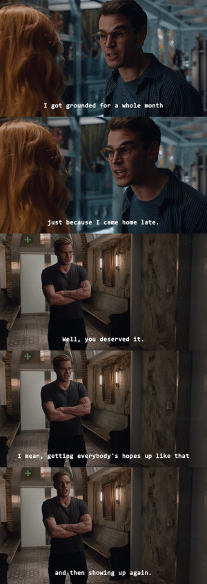 "Target, Tumblr, and Blog: I got grounded for a whole month   just because I came home late.   Well, you deserved it   I mean, getting everybody""s hopes up like that   and then showing up again. wildarcy:    incorrect shadowhunters quotes (14/?)"