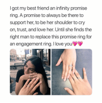 Tag your bff ❤️ buy this adorable ring exclusively from @honeylock.co 😌 use my code 'slay' to save 💕 link in their bio: I got my best friend an infinity promise  ring. A promise to always be there to  support her, to be her shoulder to cry  on, trust, and love her. Until she finds the  right man to replace this promise ring for  an engagement ring. I love you Tag your bff ❤️ buy this adorable ring exclusively from @honeylock.co 😌 use my code 'slay' to save 💕 link in their bio