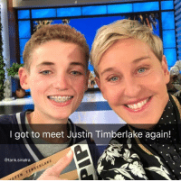 Lucky MF (pic via @theellenshow Ellen I love you I'm sorry to make fun. It's a disease I have.): I got to meet Justin Timberlake again!  @tank.sinatra  ISTIN TIMBERLAKE Lucky MF (pic via @theellenshow Ellen I love you I'm sorry to make fun. It's a disease I have.)