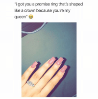"""Shopping, Queen, and Link: """"i got you a promise ring that's shaped  like a crown because you're my  queen"""" Ring from @galaxyswap 😭 tag your man and drop a hint 💕 shopping link in bio"""