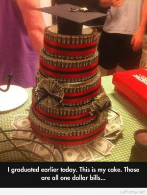 Cake graduation: I graduated earlier today. This is my cake. Those  are all one dollar bills  ..  LeFunny.net Cake graduation