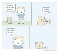 i guess: I GUESS  I'M A DOG  PERSON.  YOU PIECE  OF SHIT.  GUESS  AGAIN.  poorly drawnlines.com