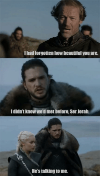 Beautiful, Game of Thrones, and Tumblr: I had forgotnen how beautiful you are.  I didn't know we'd met before, Ser Jorah.  He's talking to me. game-of-thrones-fans:  Jon is the prettiest