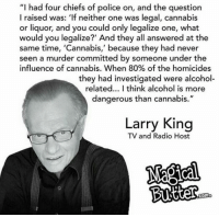 """Larry King: """"I had four chiefs of police on, and the question  I raised was: 'If neither one was legal, cannabis  or liquor, and you could only legalize one, what  would you legalize?' And they all answered at the  same time, 'Cannabis,' because they had never  seen a murder committed by someone under the  influence of cannabis. When 80% of the homicides  they had investigated were alcohol  related... I think alcohol is more  dangerous than cannabis.""""  Larry King  TV and Radio Host  Como"""