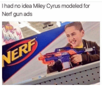 Clothes, Halloween, and Memes: I had no idea Miley Cyrus modeled for  Nerf gun ads Get Halloween pumpkin hoodie on @spray Bio! Or copy link: http:-bit.ly-2yw4QOU Get Rick and Morty clothes on @beautifulhalolive Bio! Tag a friend who would like to cop one !