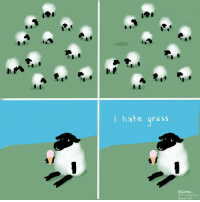 Me as a sheep (By @nathanwpyle): I hate grass  eSAMIR  BuzzFCLO Me as a sheep (By @nathanwpyle)