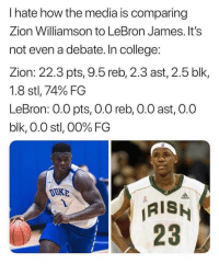 College, LeBron James, and Nba: I hate how the media is comparing  Zion Williamson to LeBron James. It's  not even a debate. In college:  Zion: 22.3 pts, 9.5 reb, 2.3 ast, 2.5 blk,  1.8 stl, 74% FG  LeBron: 0.O pts, 0.0 reb, O.0 ast, 0.0  blk, 0.0 stl, 00% FG  DuKB  AIS  23 SMH 😭😂