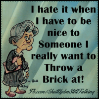 Memes, 🤖, and Brick: I hate it when  I have to be  nice to  Someone I  really want to  Throw a  Brick at  m Stine  canal Being nice to people that don't deserve it...... Has nothing to do with them.....it's about You  Try to be nice but it has been really hard.. I could throw more than a brick :D