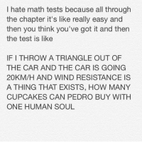 why I hate math: I hate math tests because all through  the chapter it's like really easy and  then you think you've got it and then  the test is like  IF I THROW A TRIANGLE OUT OF  THE CAR AND THE CAR IS GOING  20KM/H AND WIND RESISTANCE IS  A THING THAT EXISTS, HOW MANY  CUPCAKES CAN PEDRO BUY WITH  ONE HUMAN SOUL why I hate math