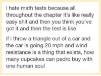 Ass, Cars, and Dank: i hate math tests because all  throughout the chapter it's like really  easy shit and then you think you've  got it and then the test is like  if i throw a triangle out of a car and  the car is going 20 mph and wind  resistance is a thing that exists, how  many cupcakes can pedro buy with  one human soul =P  You Silly Ass  ~<3 Honey <3~