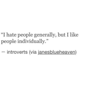 "hate people: ""I hate people generally, but I like  people individually.""  introverts (via janesblueheaven)"