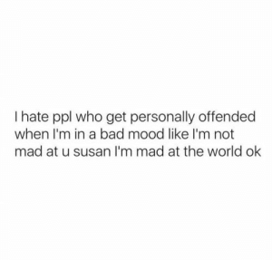 Bad, Mood, and World: I hate ppl who get personally offended  when I'm in a bad mood like I'm not  mad at u susan l'm mad at the world ok