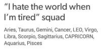 "Squade: ""I hate the world when  I'm tired"" squad  Aries, Taurus, Gemini, Cancer, LEO, Virgo,  Libra, Scorpio, Sagittarius, CAPRICORN,  Aquarius, Pisces"