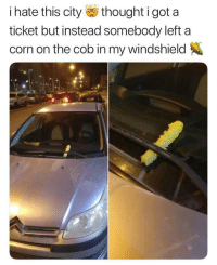 Florida, Dank Memes, and Thought: i hate this city thought i got a  ticket but instead somebody left a  corn on the cob in my windshield Florida