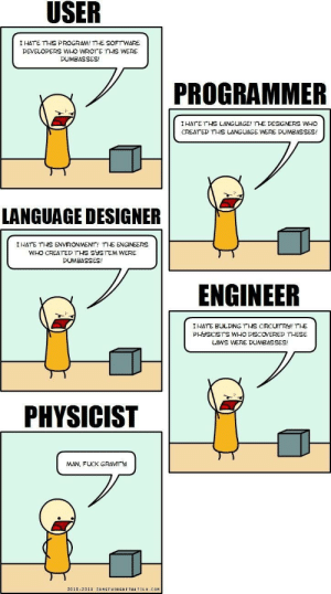 A real definition of a development community.: I HATE THIS PROGRAM! THE SOFTWARE  DEVELOPERS WHO WROTE THIS WERE  DUMBASSES!  PROGRAMMER  IHATE THS LANGUAGE! THE DESIGNERS WHO  CREAT ED THIS LANGUAGE WERE DUMBASSES!  ギ  LANGUAGE DESIGNER  I HATE THİS ENVIRONMENT, THE ENGINEERS  WHO CREATED THIS SYSTEM WERE  DUMBASSES!  ENGINEER  I HATE BULDING THS CIRCUTRY! THE  PHYSICISTS WHO DISCOVERED THESE  LAWS WERE DUMBASSES!  PHYSICIST  MAN, FUCK GRAVMTY  2010-2011 SOMETHINGOF THATILK COM A real definition of a development community.