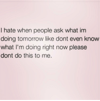 Memes, 🤖, and Gem: I hate when people ask what im  doing tomorrow like dont even know  what I'm doing right now please  dont do this to me. Eating and napping. You must follow @confessionsofablonde she's a gem! @confessionsofablonde @confessionsofablonde @confessionsofablonde @confessionsofablonde