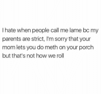 Memes, Parents, and Sorry: I hate when people call me lame bc my  parents are strict, I'm sorry that your  mom lets you do meth on your porch  but that's not how we rol Meth free zone over here. 🚫 SoBasicICantEven