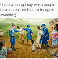 <p>Navajo people twitter (via /r/BlackPeopleTwitter)</p>: I hate when ppl say white people  have no culture like um try again  sweetie <p>Navajo people twitter (via /r/BlackPeopleTwitter)</p>