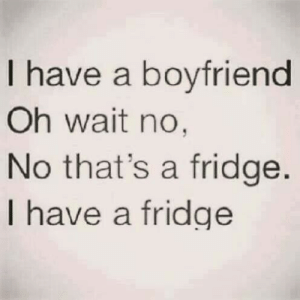 Boyfriend, Fridge, and I Have a Boyfriend: I have a boyfriend  Oh wait no,  No that's a fridge.  I have a fridge