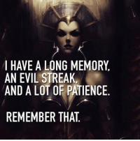 Evil: I HAVE A LONG MEMORY  AN EVIL STREAK,  AND A LOT OF PATIENCE  REMEMBER THAT