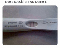 Bitch, Dumb, and Pregnant: I have a special announcement  pregnant D  not pregnant QD  CID Dumb bitch tag a dumb bitch