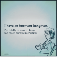 introvert: I have an introvert hangover.  I'm totally exhausted from  too much human interaction.
