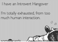 Back to regularly scheduled introverting!!! HumanInteractionResumesTomorrow LeaveMeTheFuckAlone PleaseAndThanks NotFuckingSory Idgaf ZeroFucksGiven 🖕🖕🖕: I have an Introvert Hangover  I'm totally exhausted, from too  much human interaction.  someA cards Back to regularly scheduled introverting!!! HumanInteractionResumesTomorrow LeaveMeTheFuckAlone PleaseAndThanks NotFuckingSory Idgaf ZeroFucksGiven 🖕🖕🖕