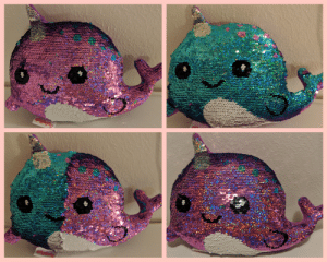 I have been have some bad dysphoria this week and my wife bought me a trans pride narwhal! 😀: I have been have some bad dysphoria this week and my wife bought me a trans pride narwhal! 😀