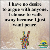 Arguing, Memes, and Peace: I have no desire  to argue with anyone.  I choose to walk  away because I just  want peace.  Understanding  compass1 <3
