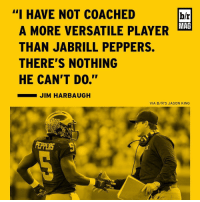 "Heisman hopeful Jabrill Peppers has played 11 positions this year. BRmag on the wild card who's set to take the NFL by storm [link in bio]: ""I HAVE NOT COACHED  br  MAG  A MORE VERSATILE PLAYER  THAN JABRILL PEPPERS.  THERE'S NOTHING  HE CAN'T DO.""  JIM HARBAUGH  VIA B/R'S JASON KING Heisman hopeful Jabrill Peppers has played 11 positions this year. BRmag on the wild card who's set to take the NFL by storm [link in bio]"