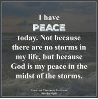 Memes, 🤖, and Storm: I have  PEACE  today. Not because  there are no storms in  my life, but because  God is my peace in the  midst of the storms  ADDICTION TREATMENT RESouRCEs  8oo-8Is-6308 Wings of Encouragement