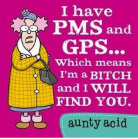 "Yes, the ""B"" word because it's a full colorful disclosure of the facts!   Hugs & Giggle out Loud - GrandmasFollies.com: I have  PMS and  GPS.  which means  I'm a BITCH  and I WILL  FIND YOU.  aunty acid. Yes, the ""B"" word because it's a full colorful disclosure of the facts!   Hugs & Giggle out Loud - GrandmasFollies.com"