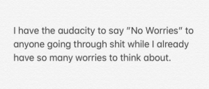 """Shit, Audacity, and Think: I have the audacity to say """"No Worries"""" to  anyone going through shit while I already  have so many worries to think about. I am so daring and So are you."""